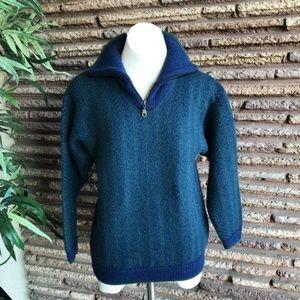 Vintage 100% Alpaca 1/2 Zip Henley Sweater